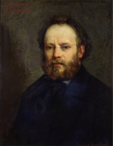 XIR88479 Portrait of Pierre Joseph Proudhon (1809-65) 1865 (oil on canvas) by Courbet, Gustave (1819-77); 72x55 cm; Musee d'Orsay, Paris, France; French,  out of copyright